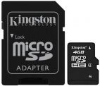 Карта памяти Kingston microsdhc 4gb class4+адаптер Kingston