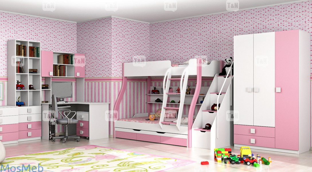 Белая детская мебель в цветок