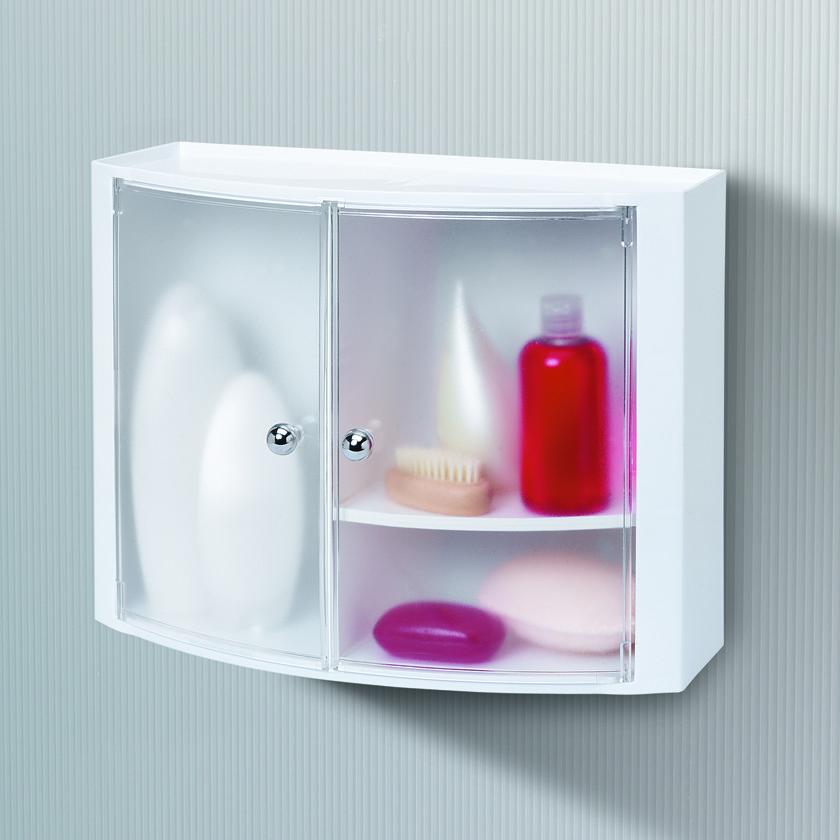 Пластиковый навесной шкафчик с дверцами прозрачно натуральны.
